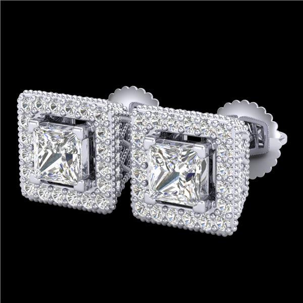 2.25 ctw Princess VS/SI Diamond Micro Pave Stud Earrings 18k White Gold - REF-272W8H
