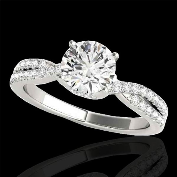 1.3 ctw Certified Diamond Solitaire Ring 10k White Gold - REF-197G8W