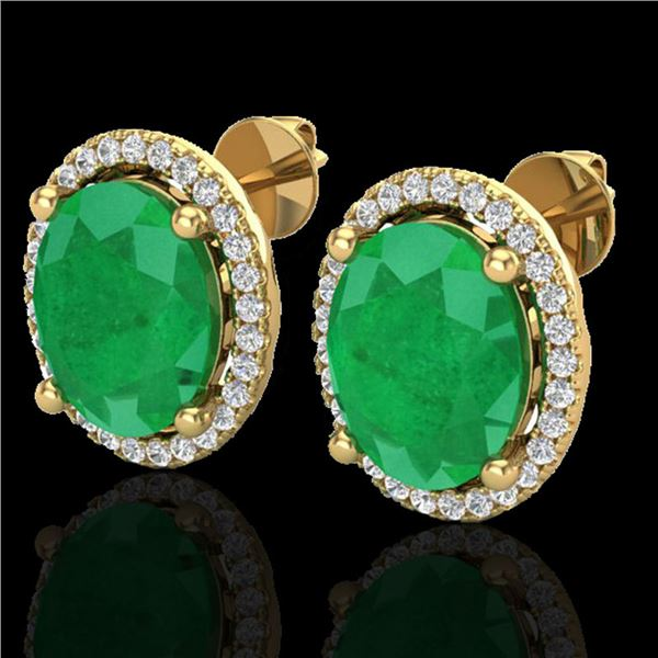 6 ctw Emerald & Micro Pave VS/SI Diamond Earrings 18k Yellow Gold - REF-101W6H
