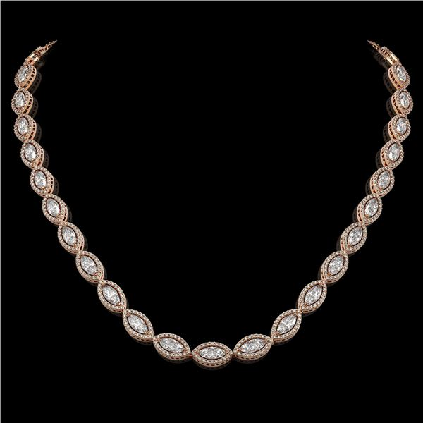 24.42 ctw Marquise Cut Diamond Micro Pave Necklace 18K Rose Gold - REF-3359A5N