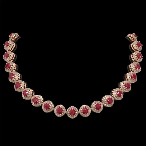 82.17 ctw Certified Ruby & Diamond Victorian Necklace 14K Rose Gold - REF-1800H2R