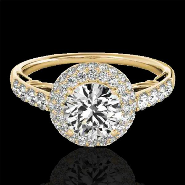 1.65 ctw Certified Diamond Solitaire Halo Ring 10k Yellow Gold - REF-218X2A