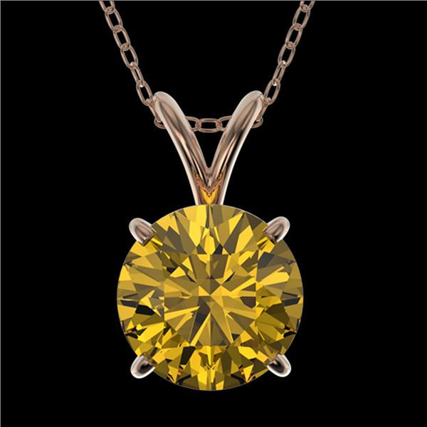 1.53 ctw Certified Intense Yellow Diamond Necklace 10k Rose Gold - REF-233H2R