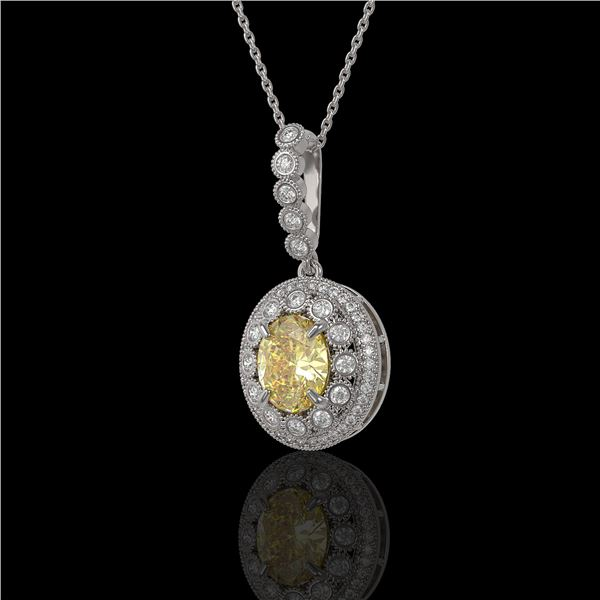 3.87 ctw Canary Citrine & Diamond Victorian Necklace 14K White Gold - REF-120M2G