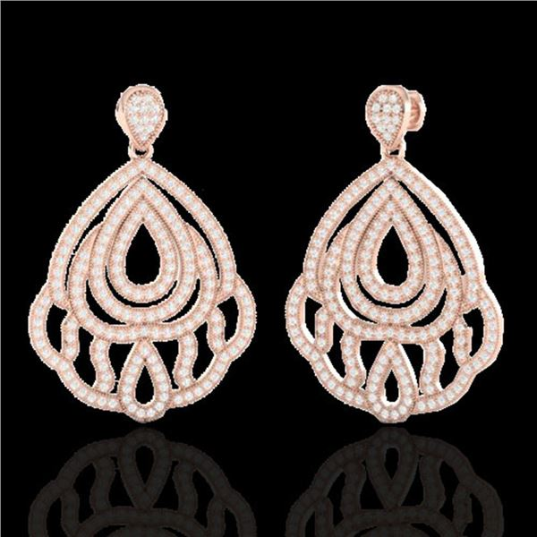 3 ctw Micro Pave VS/SI Diamond Earrings Designer 14k Rose Gold - REF-256G9W