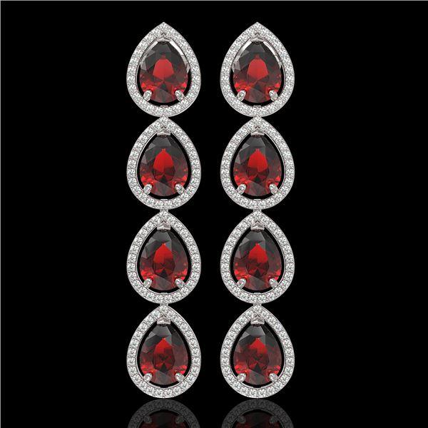9.25 ctw Garnet & Diamond Micro Pave Halo Earrings 10k White Gold - REF-172M8G