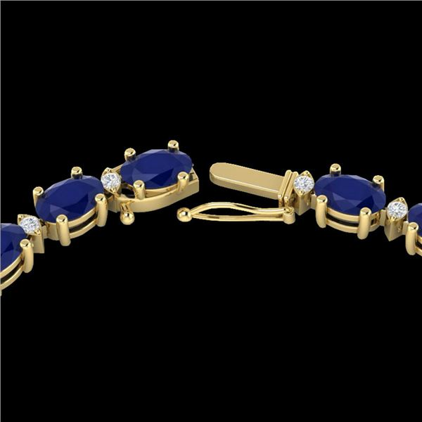 35 ctw Sapphire & VS/SI Diamond Certified Eternity Necklace 10k Yellow Gold - REF-231M8G