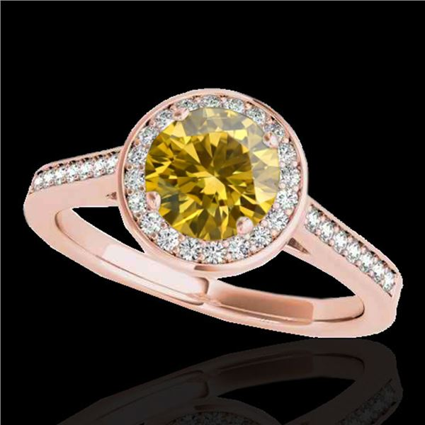 1.93 ctw Certified SI/I Fancy Intense Yellow Diamond Ring 10k Rose Gold - REF-327A3N