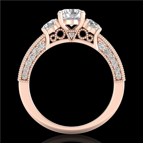 2.07 ctw VS/SI Diamond Solitaire Art Deco 3 Stone Ring 18k Rose Gold - REF-270N2F