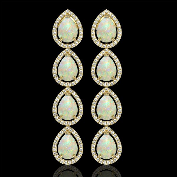 9.12 ctw Opal & Diamond Micro Pave Halo Earrings 10k Yellow Gold - REF-174K5Y