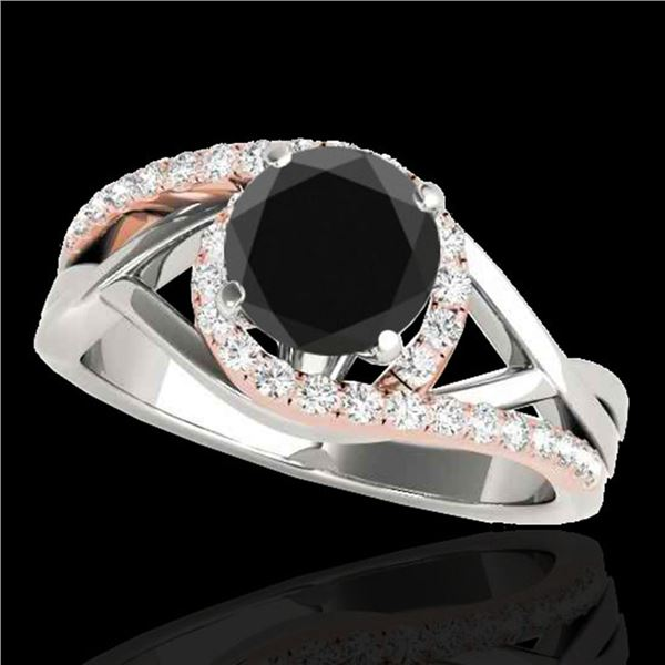 1.8 ctw Certified VS Black Diamond Bypass Solitaire Ring 10k 2Tone Gold - REF-58N9F