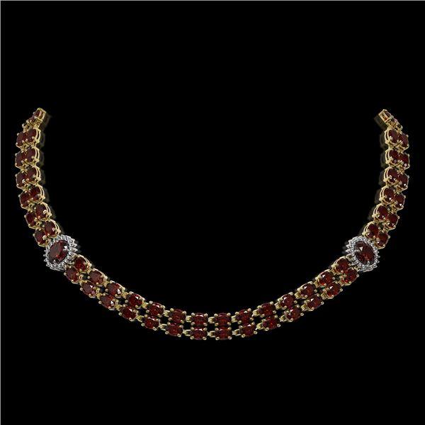 32.67 ctw Garnet & Diamond Necklace 14K Yellow Gold - REF-454K5Y
