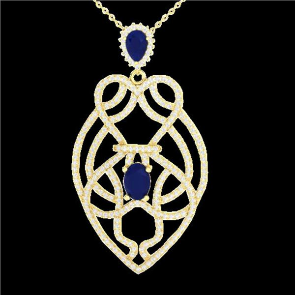 3.50 ctw Sapphire & Micro VS/SI Diamond Heart Necklace 14k Yellow Gold - REF-180M2G