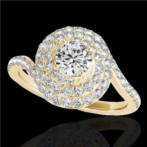 2.11 ctw Certified Diamond Solitaire Halo Ring 10k Yellow Gold - REF-259H3R