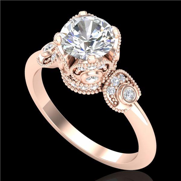 1.75 ctw VS/SI Diamond Solitaire Art Deco Ring 18k Rose Gold - REF-398W2H
