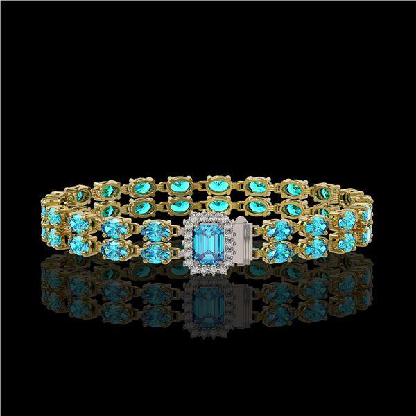 17.24 ctw Swiss Topaz & Diamond Bracelet 14K Yellow Gold - REF-236M4G