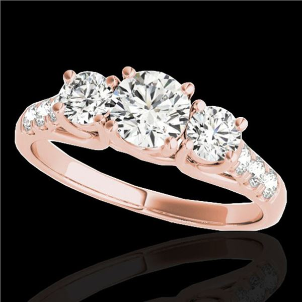 3.25 ctw Certified Diamond 3 Stone Ring 10k Rose Gold - REF-357K3Y