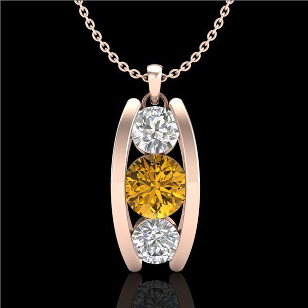 1.07 ctw Intense Fancy Yellow Diamond Art Deco Necklace 18k Rose Gold - REF-143K6Y