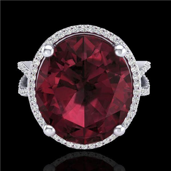 10 ctw Garnet & Micro Pave VS/SI Diamond Certified Ring 18k White Gold - REF-80K2Y