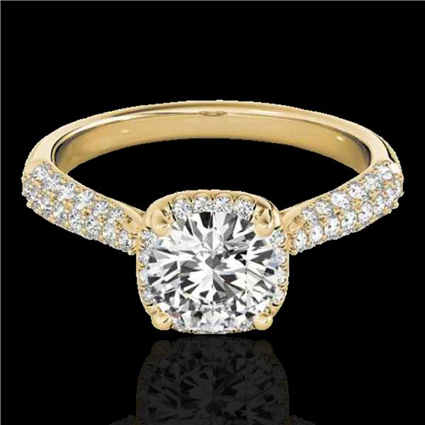 1.50 ctw Certified Diamond Solitaire Halo Ring 10k Yellow Gold - REF-204K5Y