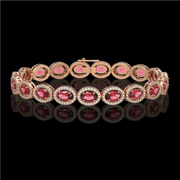 13.87 ctw Tourmaline & Diamond Micro Pave Halo Bracelet 10k Rose Gold - REF-309X3A
