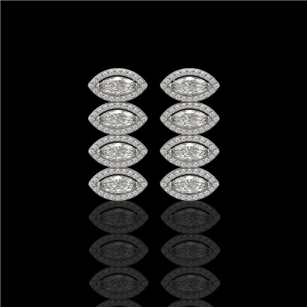 5.33 ctw Marquise Cut Diamond Micro Pave Earrings 18K White Gold - REF-739Y6X
