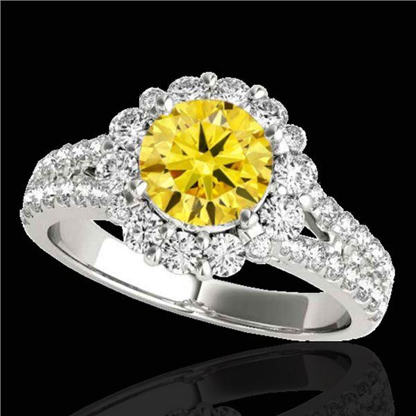 2.01 ctw Certified SI/I Fancy Intense Yellow Diamond Ring 10k White Gold - REF-225G2W