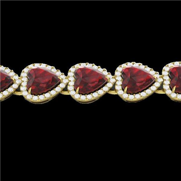 25 ctw Garnet & Micro Pave VS/SI Diamond Bracelet Heart 14k Yellow Gold - REF-415A5N