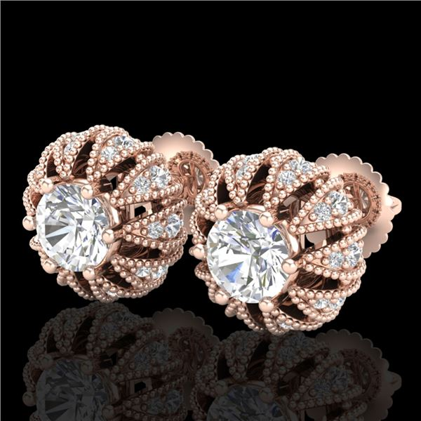 2.01 ctw VS/SI Diamond Art Deco Micro Pave Stud Earrings 18k Rose Gold - REF-272H8R