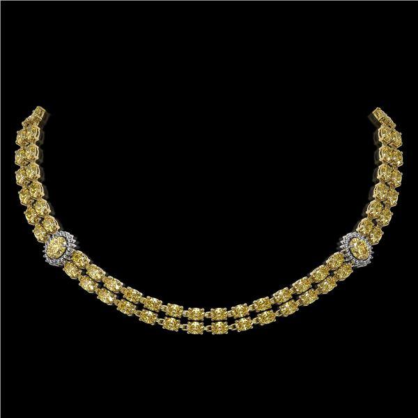31.4 ctw Citrine & Diamond Necklace 14K Yellow Gold - REF-454H5R