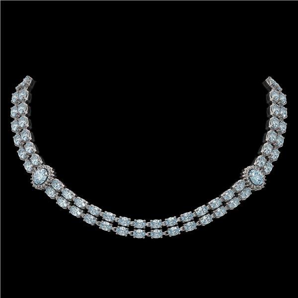 39.28 ctw Sky Topaz & Diamond Necklace 14K White Gold - REF-454R5K