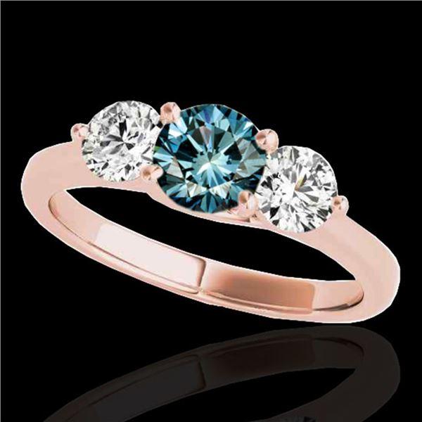 2 ctw SI Certified Fancy Blue Diamond 3 Stone Ring 10k Rose Gold - REF-211X4A