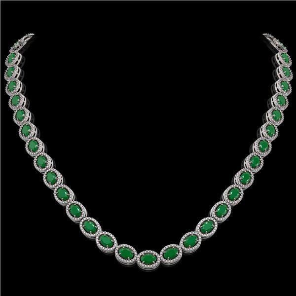 34.11 ctw Emerald & Diamond Micro Pave Halo Necklace 10k White Gold - REF-709K3Y