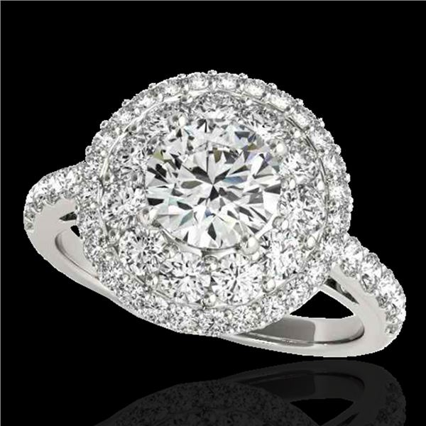 2.09 ctw Certified Diamond Solitaire Halo Ring 10k White Gold - REF-231R8K