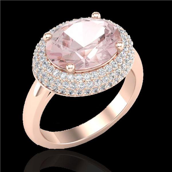 4.50 ctw Morganite & Micro Pave VS/SI Diamond Ring 14k Rose Gold - REF-155M3G