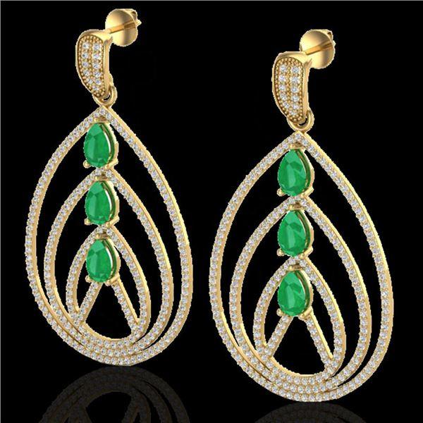 4 ctw Emerald & Micro Pave VS/SI Diamond Earrings 18k Yellow Gold - REF-307K3Y