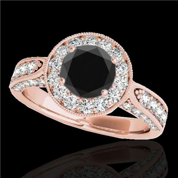 2 ctw Certified VS Black Diamond Solitaire Halo Ring 10k Rose Gold - REF-80R6K