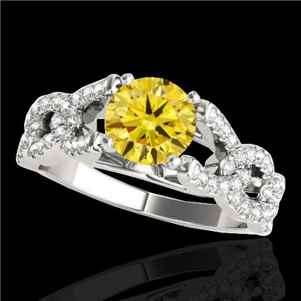 1.5 ctw Certified SI/I Fancy Intense Yellow Diamond Ring 10k White Gold - REF-177G3W