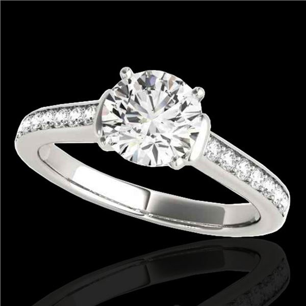 1.5 ctw Certified Diamond Solitaire Ring 10k White Gold - REF-204N5F