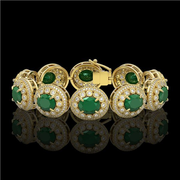 49.17 ctw Emerald & Diamond Victorian Bracelet 14K Yellow Gold - REF-1404F4M