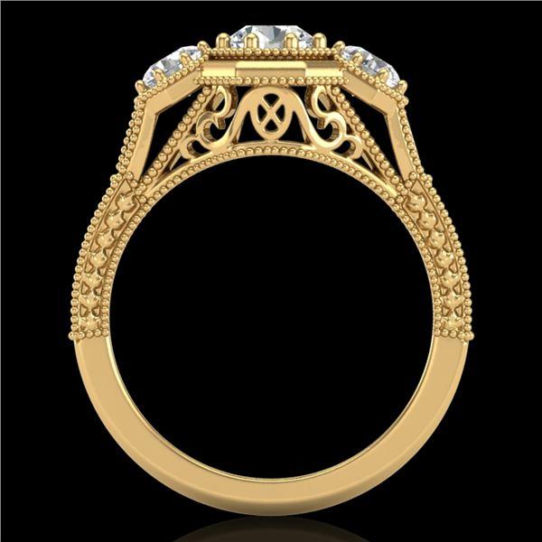 1.05 ctw VS/SI Diamond Solitaire Art Deco 3 Stone Ring 18k Yellow Gold - REF-200K2Y