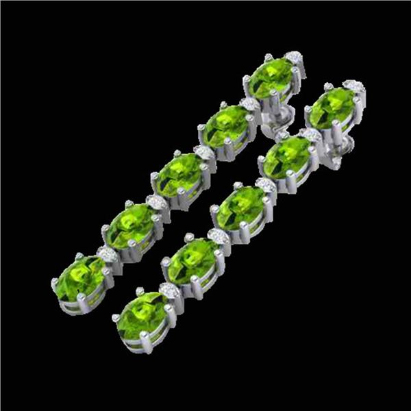 15.47 ctw Peridot & VS/SI Certified Diamond Earrings 10k White Gold - REF-107H5R