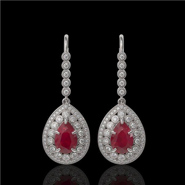 10.15 ctw Certified Ruby & Diamond Victorian Earrings 14K White Gold - REF-279N3F