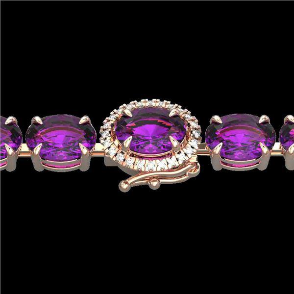 29 ctw Amethyst & VS/SI Diamond Micro Pave Bracelet 14k Rose Gold - REF-117H3R