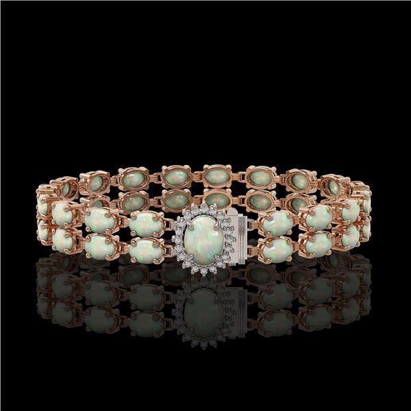 13.69 ctw Opal & Diamond Bracelet 14K Rose Gold - REF-263G6W