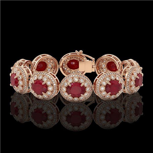 49.17 ctw Certified Ruby & Diamond Victorian Bracelet 14K Rose Gold - REF-1369R3K