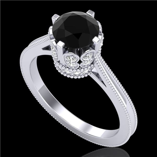 1.5 ctw Fancy Black Diamond Engagment Art Deco Ring 18k White Gold - REF-109X3A