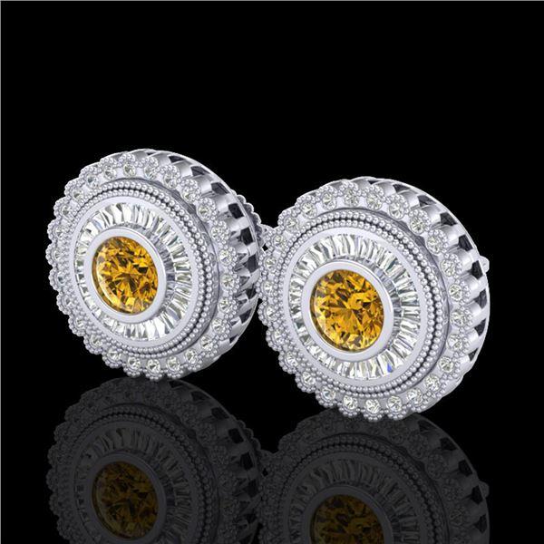 2.61 ctw Intense Fancy Yellow Diamond Art Deco Earrings 18k White Gold - REF-300K2Y