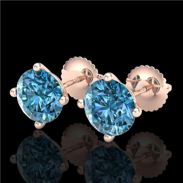 3.01 ctw Fancy Intense Blue Diamond Art Deco Earrings 18k Rose Gold - REF-354H5R