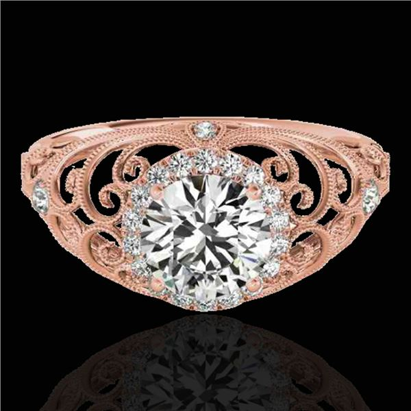 1.22 ctw Certified Diamond Solitaire Halo Ring 10k Rose Gold - REF-177H3R